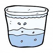 retro comic book style cartoon glass of water