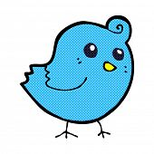 retro comic book style cartoon bird