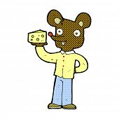 retro comic book style cartoon mouse holding cheese