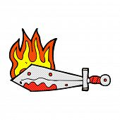 retro comic book style cartoon flaming sword