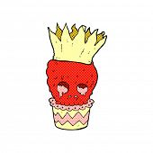 spooky skull cupcake retro comic book style cartoon