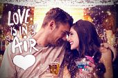 Cute couple drinking against love is in the air