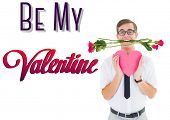 Romantic geeky hipster against be my valentine