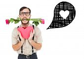Geeky hipster offering valentines gifts against heart in speech bubble