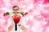 picture of girly  - Romantic geeky hipster against digitally generated girly heart design - JPG