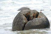 Moeraki Boulder In The Ocean Of The Southern Island Of New Zealand