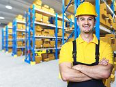 stock photo of factory-worker  - smiling manual worker isolated warehouse 3d background - JPG