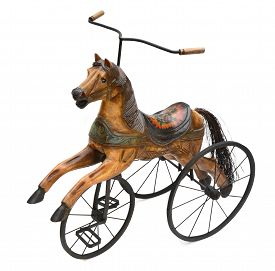 image of carousel horse  - Vintage Horse Tricycle Bike isolated on white - JPG