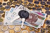pic of mandate  - Documents car keys and money coin on the table - JPG