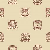 image of glyphs  - Seamless background with Maya calendar named days and associated glyphs for your design - JPG