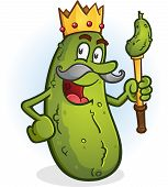pic of glorious  - The glorious dill pickled king of the cucumbers with a golden staff and crown - JPG