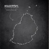 stock photo of mauritius  - Mauritius map blackboard chalkboard vector template dark - JPG