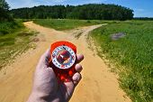 stock photo of compasses  - With the compass before the fork - JPG