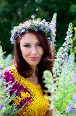 pic of polite girl  - Beautiful girl from Poland with wreath made of flowers - JPG