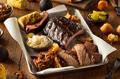 Barbecue Smoked Brisket And Ribs Platter poster