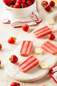 image of popsicle  - Homemade Strawberry and Banana Popsicles on a Stick - JPG