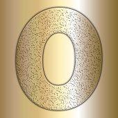 image of zero  - Vector golden metallic digits with grain texture - JPG