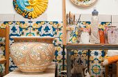 pic of pottery  - Decorated ceramic vase in the studio of a pottery decorator in Caltagirone  - JPG
