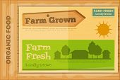 picture of farm-house  - Farm Organic Food Poster on Wooden Background - JPG