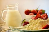 picture of milk products  - dairy products fresh milk and curd dessert with strawberries - JPG