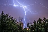 stock photo of polonia  - Lighting during heavy thunderstorm in Warsaw June 2015 - JPG