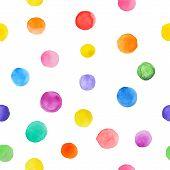 stock photo of dot pattern  - Colorful paint watercolor seamless pattern - JPG