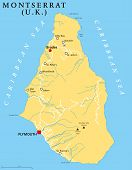 pic of political map  - Montserrat Political Map with capital Plymouth - JPG