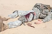 foto of medevac  - Wounded US paratrooper airborne infantrymen in the desert - JPG