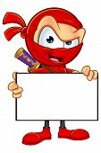 image of ninja  - An illustration of a sneaky cartoon Ninja character dressed in red - JPG