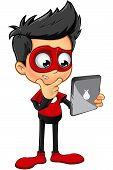 stock photo of superhero  - A cartoon illustration of a Superhero Boy character dressed in a red superhero costume - JPG