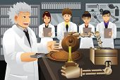 picture of presenting  - A vector illustration of professor presenting his experiment invention to his students - JPG