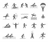 picture of parkour  - Silhouettes figures of athletes popular sports vector - JPG