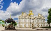 stock photo of cumulus-clouds  - Medieval Assumption Cathedral of Kyiv - JPG