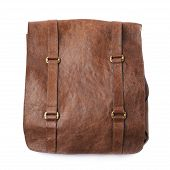 picture of shoulders  - Brown leather shoulder bag isolated over the white background - JPG
