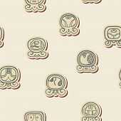 stock photo of glyphs  - Seamless background with Maya calendar named days and associated glyphs for your design - JPG