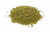 pic of mung beans  - Dried green mung beans isolated on a white background - JPG