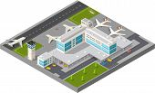 picture of terminator  - Isometric map of the city airport the trees and the flight of construction and building terminal planes and cars vector illustration - JPG