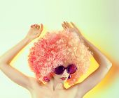 picture of provocative  - Portrait of Fashion nude girl in fashionable sunglasses with trendy afro hairstyle - JPG