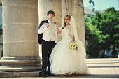stock photo of married  - wedding day of  happy just married newlyweds - JPG