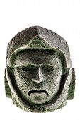 picture of aztec  - Aztec carved eagle warrior head reproduction isolated over a white background - JPG