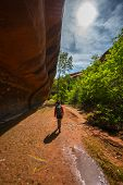 foto of colorado high country  - Girl Hiker Backpacker in the Neon Canyon Utah Escalante National Park - JPG