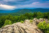 foto of blue ridge mountains  - View of the Blue Ridge Mountains from Loft Mountain in Shenandoah National Park Virginia - JPG