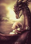 foto of woman dragon  - A shabby girl is hugging her dragon with happiness in old vintage childhood memory illustration This is a fantasy drawing - JPG