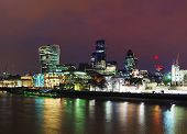 foto of london night  - Financial district of the City of London in the night - JPG