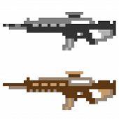 image of rifle  - illustration vector isolate icon pixel art gun assault rifle - JPG