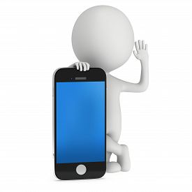 image of 3d  - 3d white people with smartphone - JPG