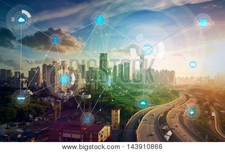 poster of smart city and wireless communication network, abstract image visual, internet of things .