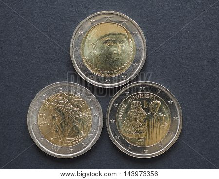 Постер, плакат: Eur Coins With Italian Writers, холст на подрамнике