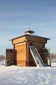 Museum of wooden architecture. Tower of fraternal jail.