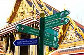 Tourist Guidepost In Temple Wat Phra Kaeo Thailand poster